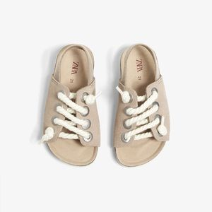 Zara baby leather sandals with rope laces🐾